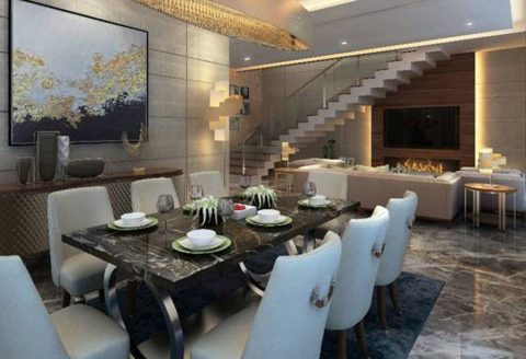 the lush villa dining room fitted with italian marble flooring
