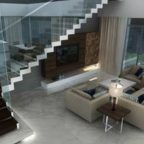 the lush villa living room fitted with italian marble flooring