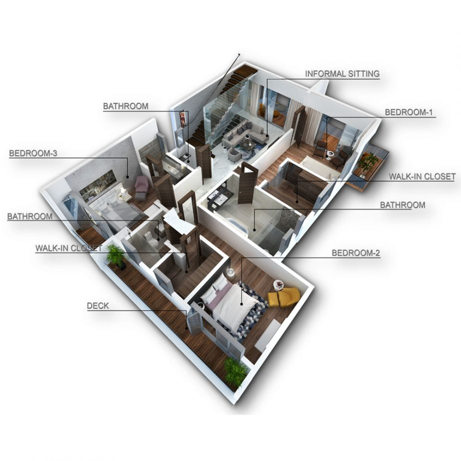 The Lush Villa First Floor Axonometric View