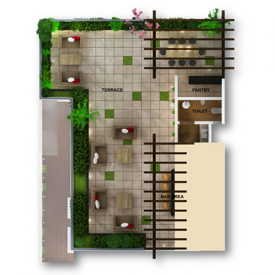 The Lush Villa Terrace Floor Axonometric View